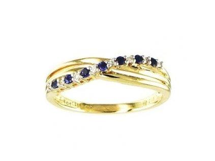 Elegantní zlatý prsten s páskem safírů a briliantů