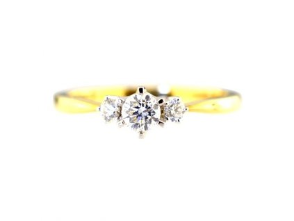 Unikátní zlatý prsten s briliantem (3x)