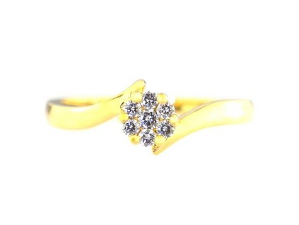 Prsten z 14 karátového zlata s briliantovou kytičkou