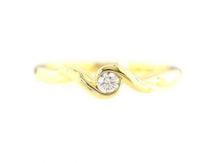 Jednoduše elegantní briliantový prsten ze žlutého zlata