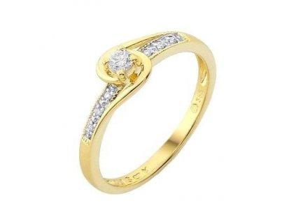 Lesknoucí briliantový prsten z 14 karátového žlutého zlata
