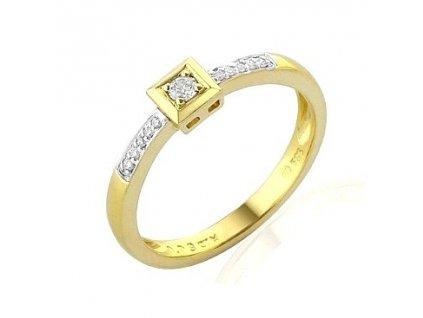 Briliantový prsten ze žlutého zlata se čtvercovou hlavou