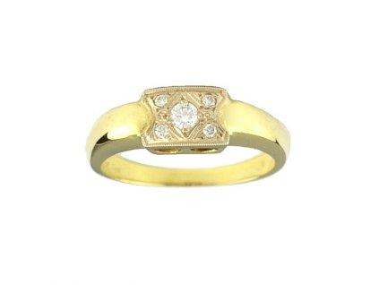 Briliantový prsten ze žlutého zlata s kouzelným vzorem hlavy