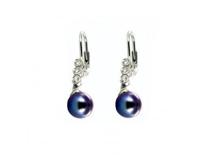 Přírodní perlové náušnice bílé zlato a brilianty
