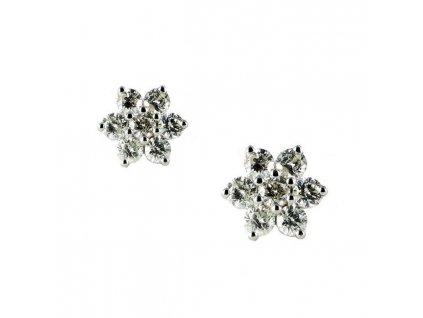 Hvězdicové náušnice z 18 karátového bílého zlata s briliantovými kameny