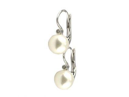 Elegantní perlové náušnice z bílého zlata ozdobené brilianty