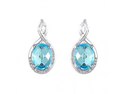 Romantické náušnice z bílého zlata se světle modrým topazem a briliantovými kameny