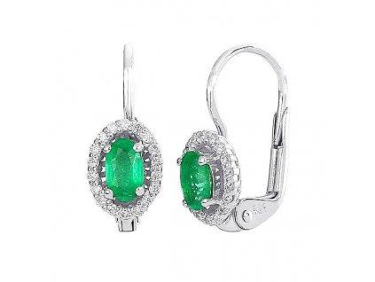 Kulaté smaragdy na náušnicích z bílého zlata s briliantovým zdobením