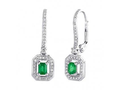 Smaragdové obdélníčky ve zlatých náušnicích s briliantovým zdobením