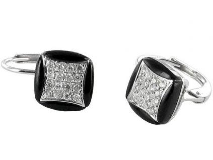 Onyxové náušnice s briliantovým čtverečkem – bílé zlato