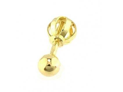 Zlatá náušnice 3mm - 1KUS