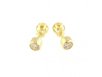 Peckové náušnice zlaté 3mm s kamenem zirkonu