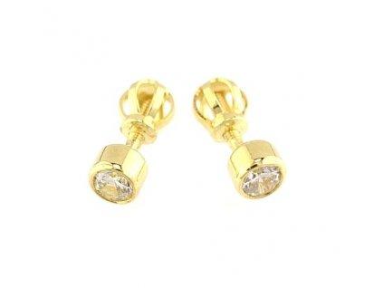 Zlaté náušnice peckové ozdobené zirkonovými kameny 4mm