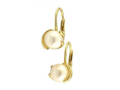 Perlové náušnice 7mm ze žlutého zlata – elegantní provedení