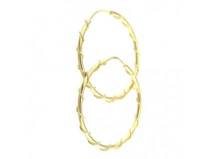 Zlaté kruhové náušnice se zlatým zdobením 30mm