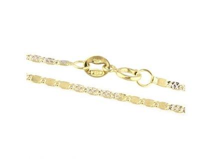 1497-5 Zlatý náramek 18cm žluté zlato zdobeným bílým zlatem
