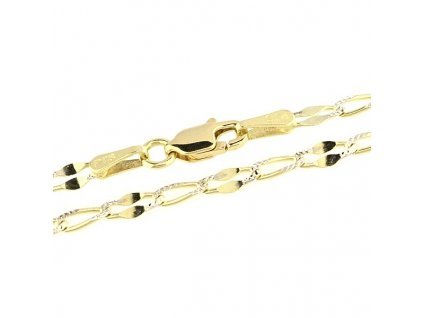 Zlatý řetízek 45cm žluté zlato zdobené bílým zlatem