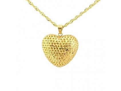 Síťované srdce ze žlutého zlata