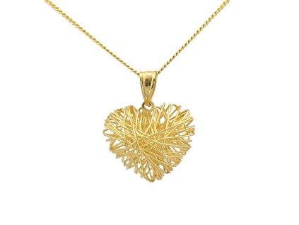 Zlaté srdce ze žlutého zlata