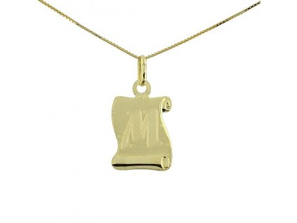 Zlatý přívěsek ve tvaru pergamenu s písmenem