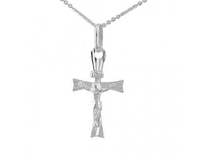 Přívěšek kříž z bílého zlata 14 karátů
