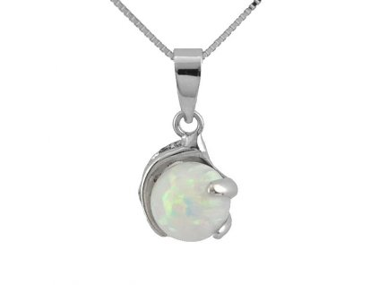Přívěsek bílé zlato a australský opál