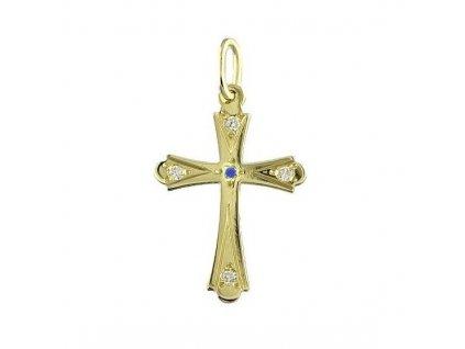 Zlatý kříž s modrým zirkonem