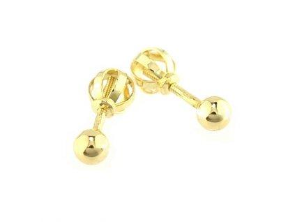 Peckové náušnice 3mm se zlatou kuličkou