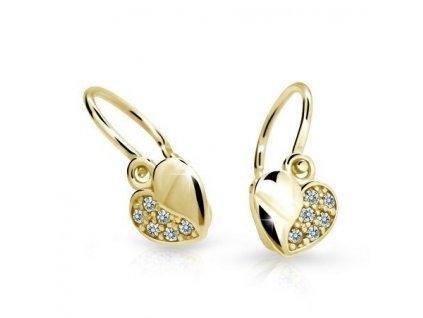 Srdíčkové dětské náušnice ND2160Z Diamonds s brilianty – žluté zlato