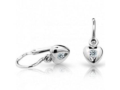 Srdíčkové dětské náušnice z bílého zlata ND1556 Diamonds + brilianty