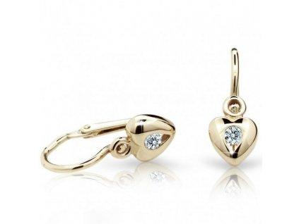 Srdíčkové dětské náušnice ze žlutého zlata ND1556Z Diamonds + brilianty