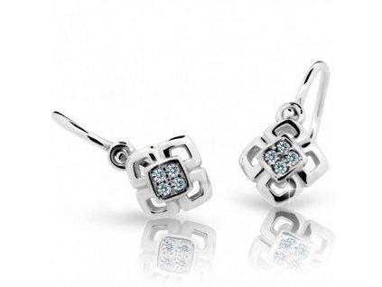 Čtverečkové dětské náušnice ND2240 Diamonds z bílého zlata s brilianty