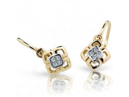 Čtverečkové dětské náušnice ND2240Z Diamonds ze žlutého zlata s brilianty