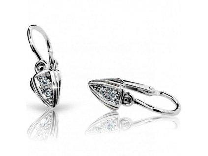 Trojúhelníčkové náušnice dětské ND1899 Diamonds bílé zlato + brilianty