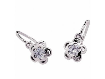 Briliantové dětské náušnice ND2204 Diamonds – kvítek z bílého zlata