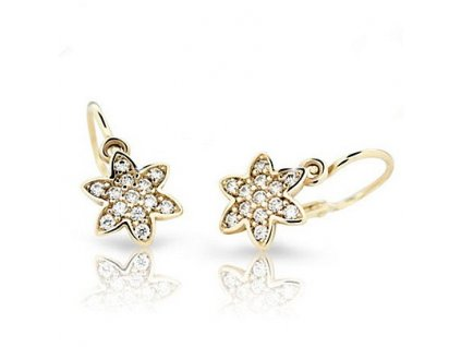 Žluté zlato – dětské náušnice osazené brilianty ND2206Z Diamonds ve tvaru hvězdičky