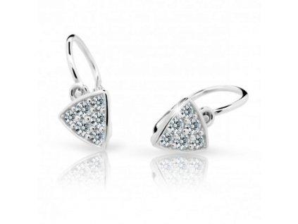 Trojúhelníkové dětské náušnice bílé zlato ND2207 Diamonds s brilianty