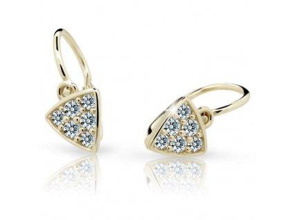 Trojúhelníkové dětské náušnice žluté zlato ND2207Z Diamonds s brilianty