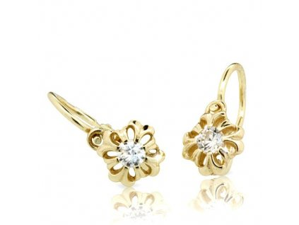 Dětské náušnice – květiny s briliantem ND2208Z Diamonds žluté zlato