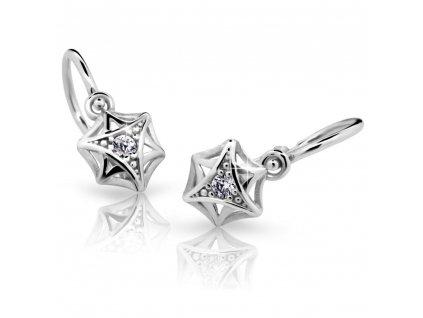 Hvězdičkové dětské náušnice ND2209 Diamonds z bílého zlata s briliantovým zdobením