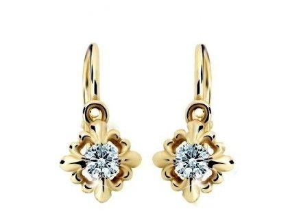 Kytičkové dětské náušnice vybavené brilianty ND2212Z Diamonds – žluté zlato