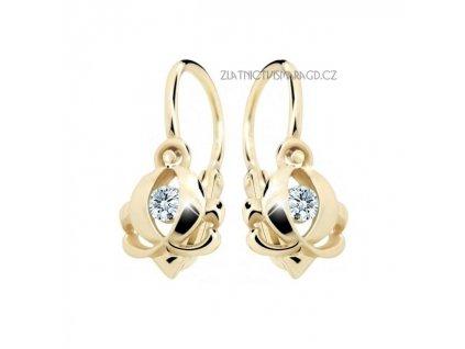 Elegantní dětské náušnice žluté zlato ND2218Z Diamonds s brilianty