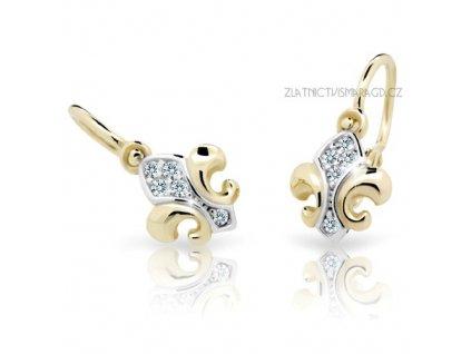 Briliantové dětské náušnice originálního tvaru ND2219Z Diamonds ze žlutého zlata
