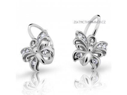 Motýlí náušnice s brilianty – dětské ND2226 Diamonds z bílého zlata