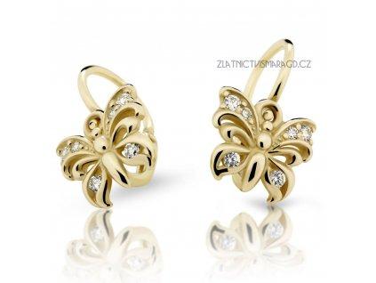 Motýlí náušnice s brilianty – dětské ND2226Z Diamonds ze žlutého zlata