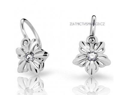 Květinové dětské náušnice briliantové ND2238 Diamonds bílé zlato