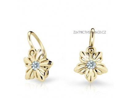 Květinové dětské náušnice briliantové ND2238Z Diamonds žluté zlato