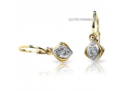 Briliantové náušnice žluté zlato – dětské a dívčí ND1897Z Diamonds