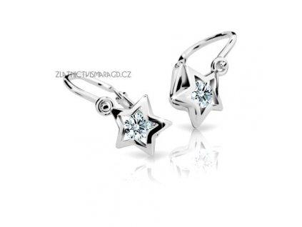 Dětské náušnice – hvězdy bílé zlato ND1942 Diamonds s brilianty
