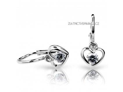 Dětské briliantové náušnice ve tvaru srdce ND1943 Diamonds bílé zlato